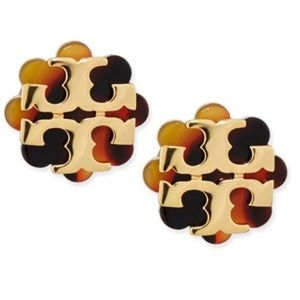 🆕 Tory Burch Logo Flower Resin Stud Earrings